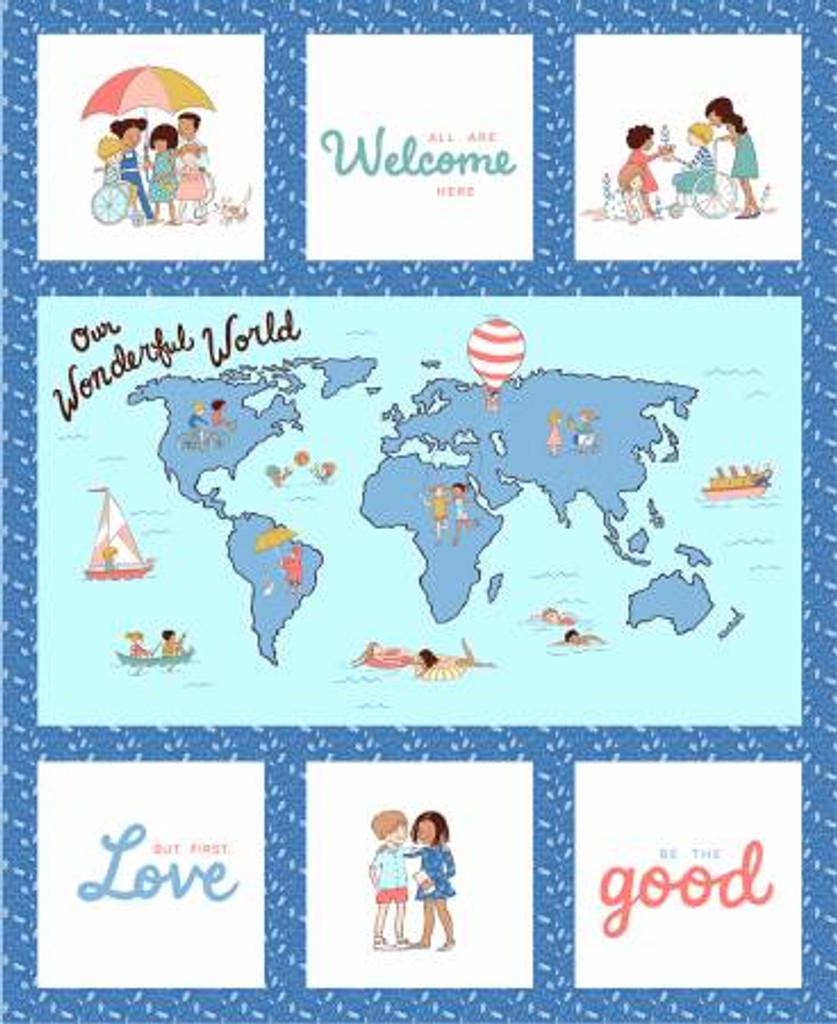 Blue Wonderful World - Michael Miller Panel