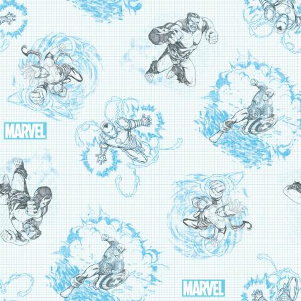 Blue Marvel Sketch - Springs Creative Cotton - 1/2 yard