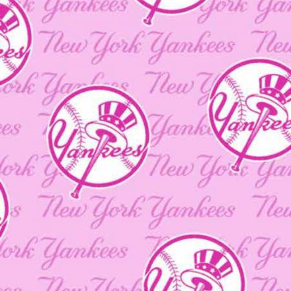 "Pink MLB New York Yankees 60"" Wide Cotton - 1/2 yard (60399-B)"