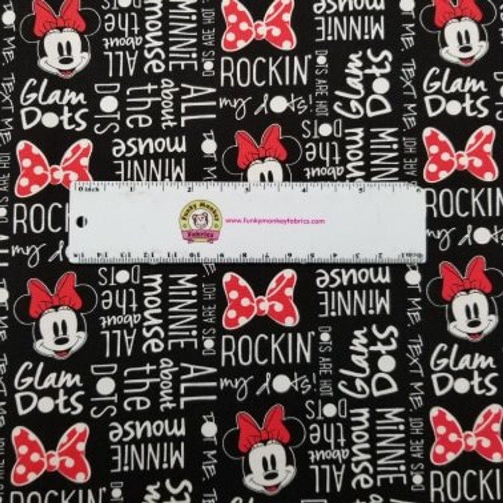 Black Disney Minnie Mouse All About Dots - Camelot Fabrics Cotton - 1/2 yard