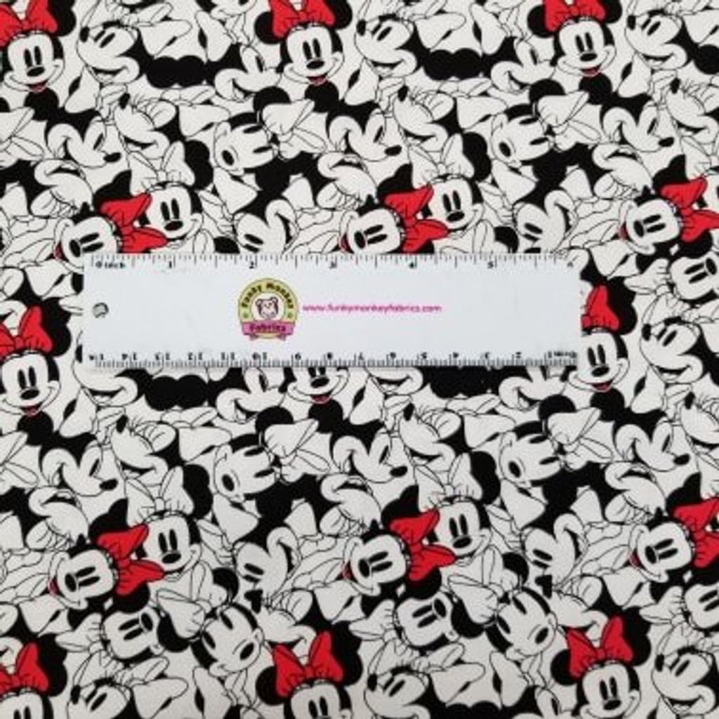 White Stacked Disney Minnie Mouse - Camelot Fabrics Cotton - 1/2 yard