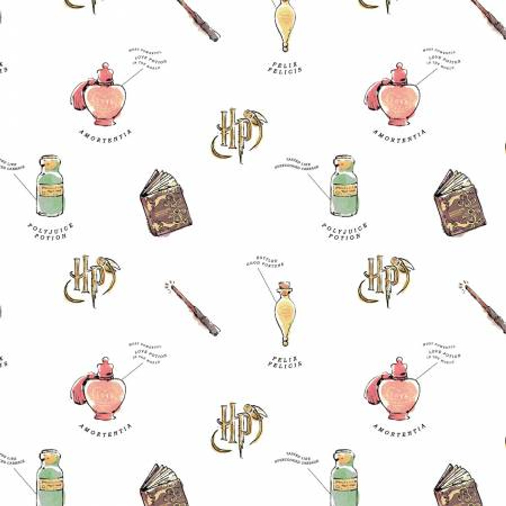 CLEARANCE White Harry Potter Watercolor Oddities - Camelot Cotton - 1/2 yard