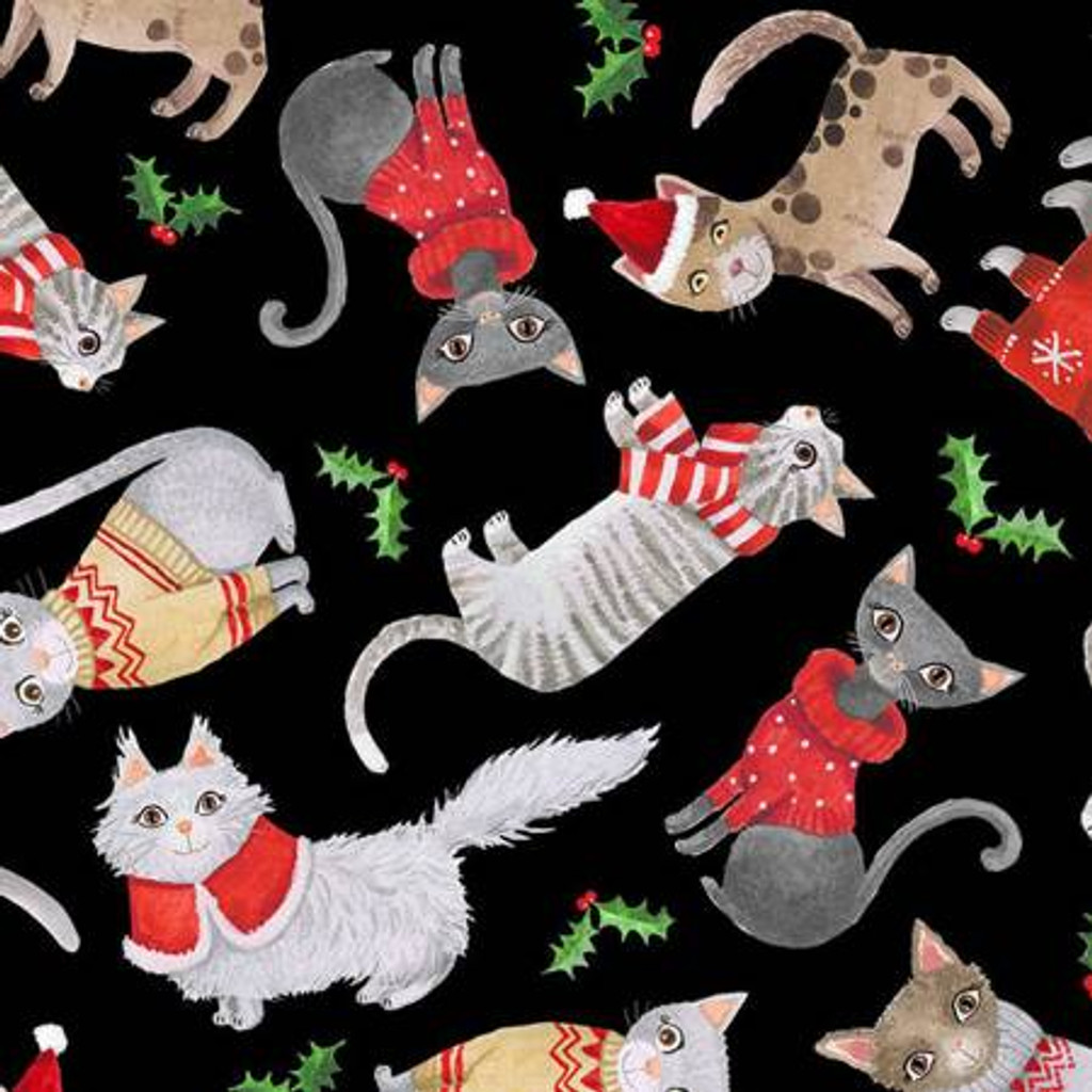 Black Cats In Christmas Sweaters - Timeless Treasures Cotton - 1/2 yard (C8652-BLACK)