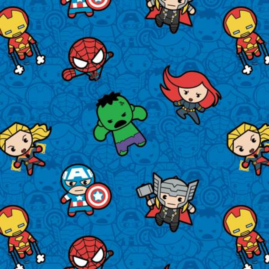 Blue Marvel Kawaii Action Packed Heroes - Camelot Cotton - 1/2 yard (13021000-2)