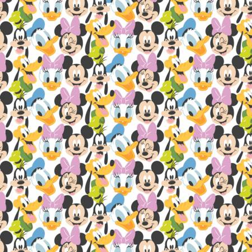 White Disney Mickey Mouse Here Comes the Fun - Camelot Fabrics Cotton - 1/2 yard (85271020-1)