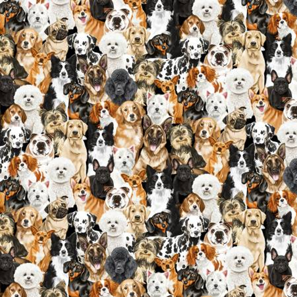 Packed Realistic Dogs - Timeless Treasures Cotton - 1/2 yard (C8553-MULT)