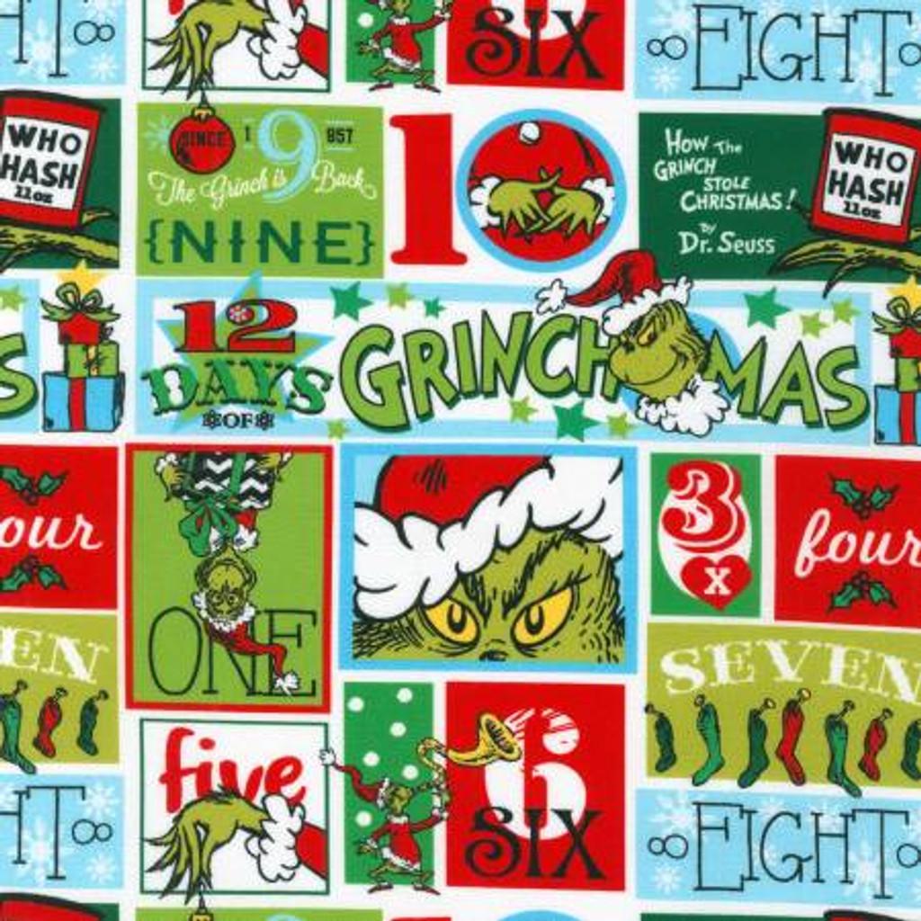 Patch Holiday Grinch Dr. Seuss - Robert Kaufman Cotton - 1/2 yard (ADE-20275-223