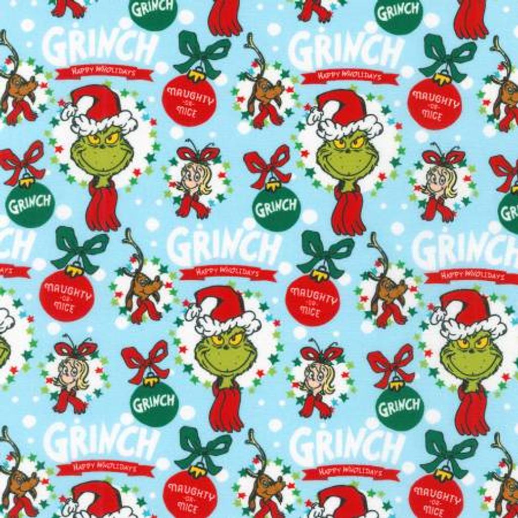 Blue Ornaments Holiday Dr. Seuss - Robert Kaufman Cotton - 1/2 yard (ADE-20278-223)