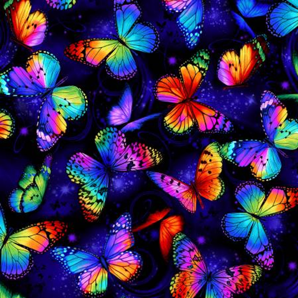 Multi Bright Butterflies Flying - Timeless Treasures Cotton - 1/2 yard (C8530-MULT)
