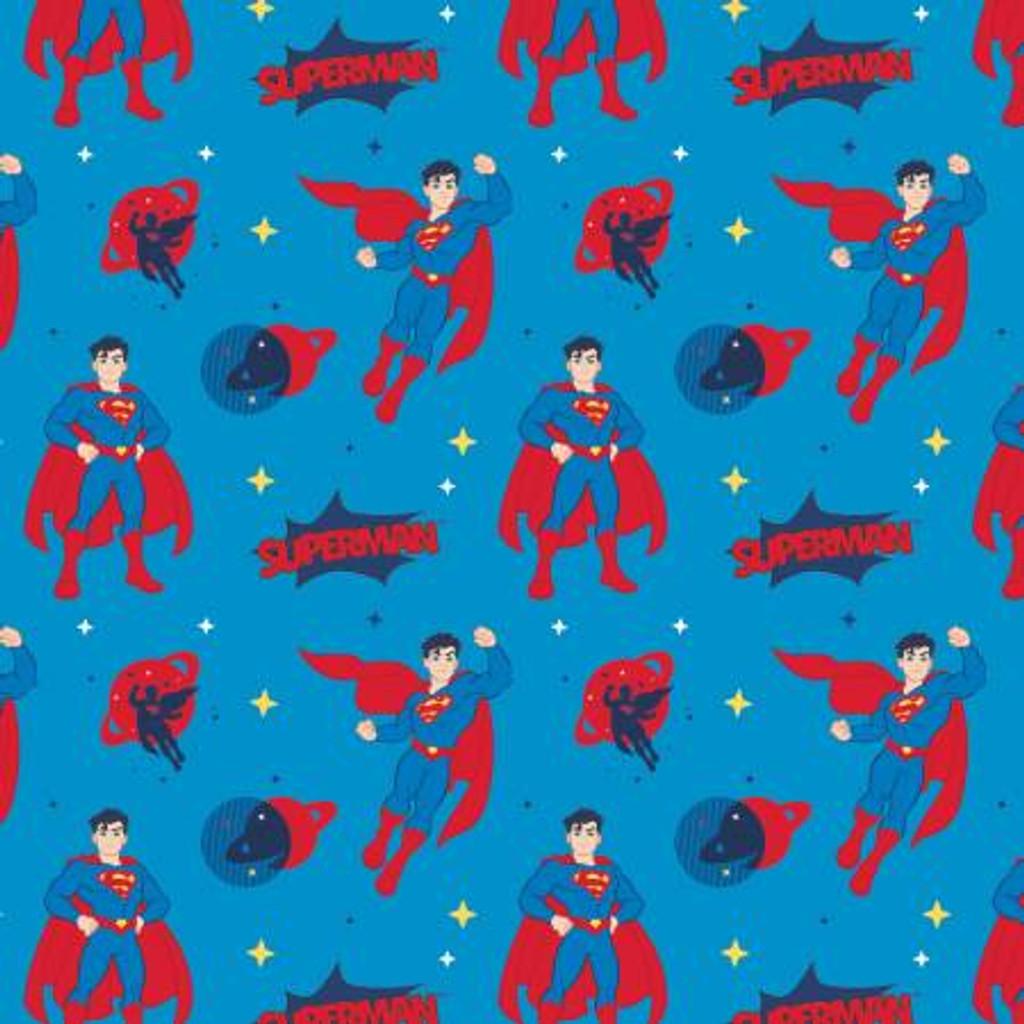 Aqua Superman - Camelot Cotton - 1/2 yard (23421468-2)