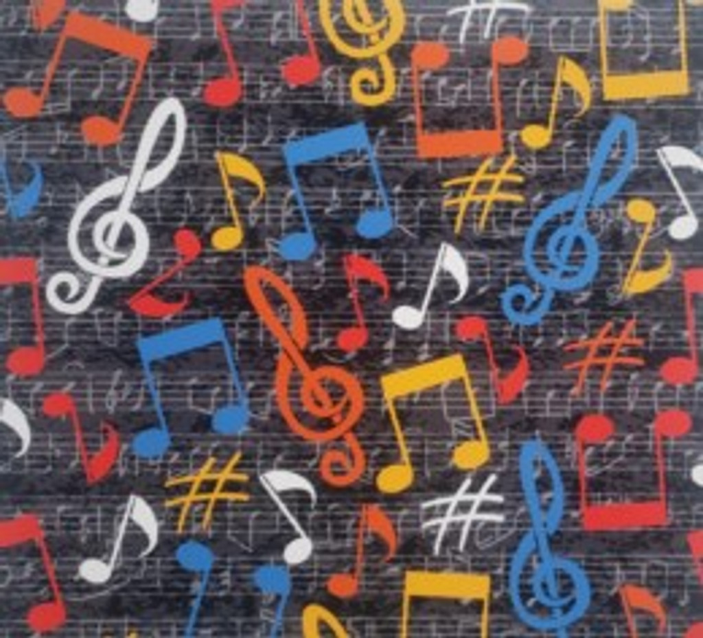 Music Notes on Sheet Music - Quilters Choice Cotton - 1/2 yard (QC500)