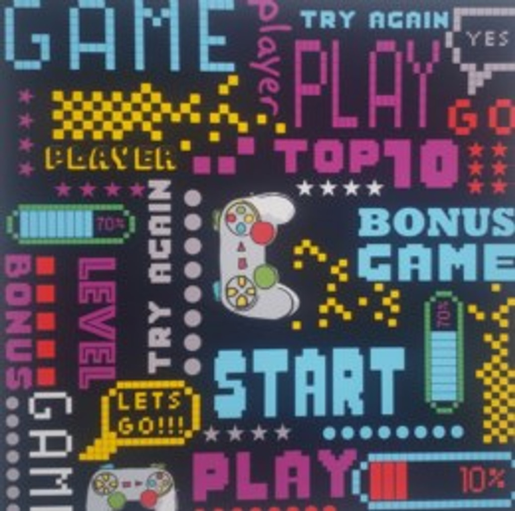 Video Games on Black - Quilters Choice Cotton - 1/2 yard (QC503)