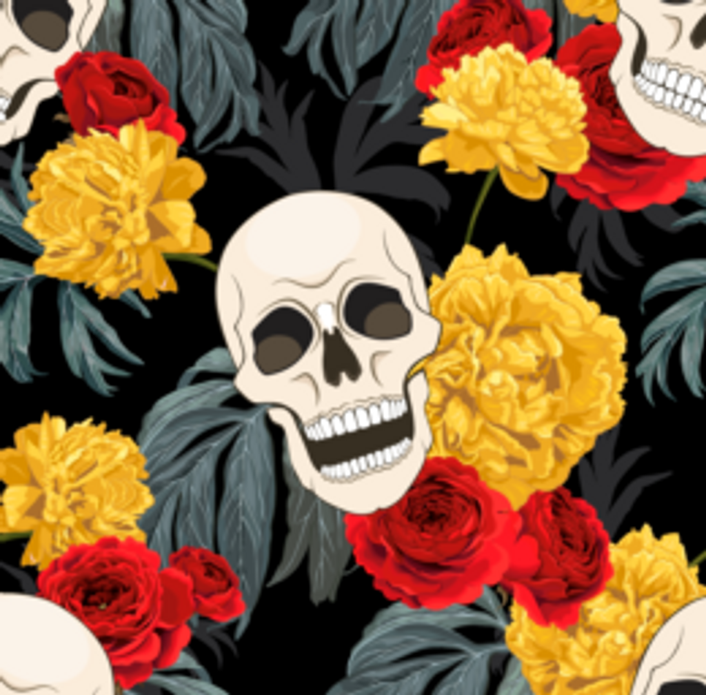Skulls & Yellow/Red Flowers - Quilters Choice Cotton - 1/2 yard