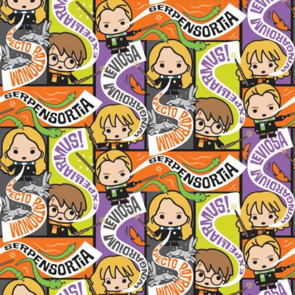 Multi Halloween Harry Potter Spell Casts - Camelot Cotton - 1/2 yard (23800687-1)