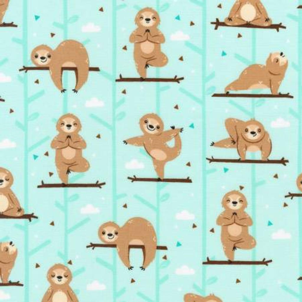 Aqua Sloths - Robert Kaufman Cotton - 1/2 yard (AMF-73456-241)
