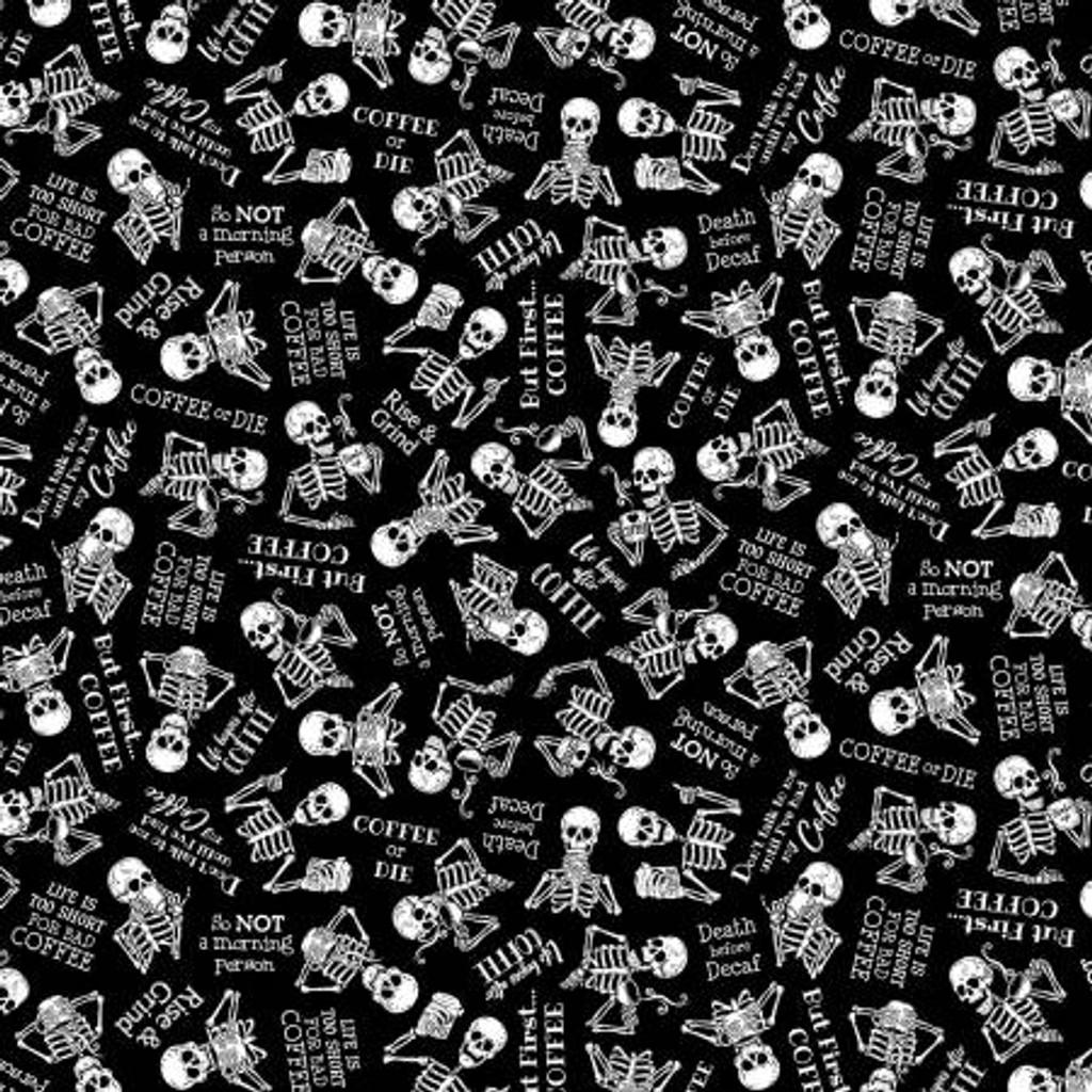 Black Tossed Skeletons In Need Of Coffee - Timeless Treasures Cotton - 1/2 yard (C8957-BLACK)
