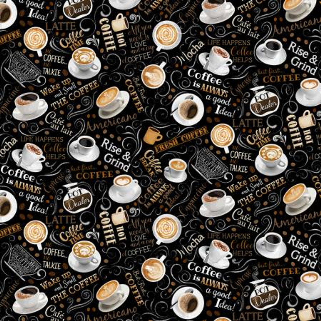 Black Tossed Coffee And Words - Timeless Treasures Cotton - 1/2 yard (C8955-BLACK)