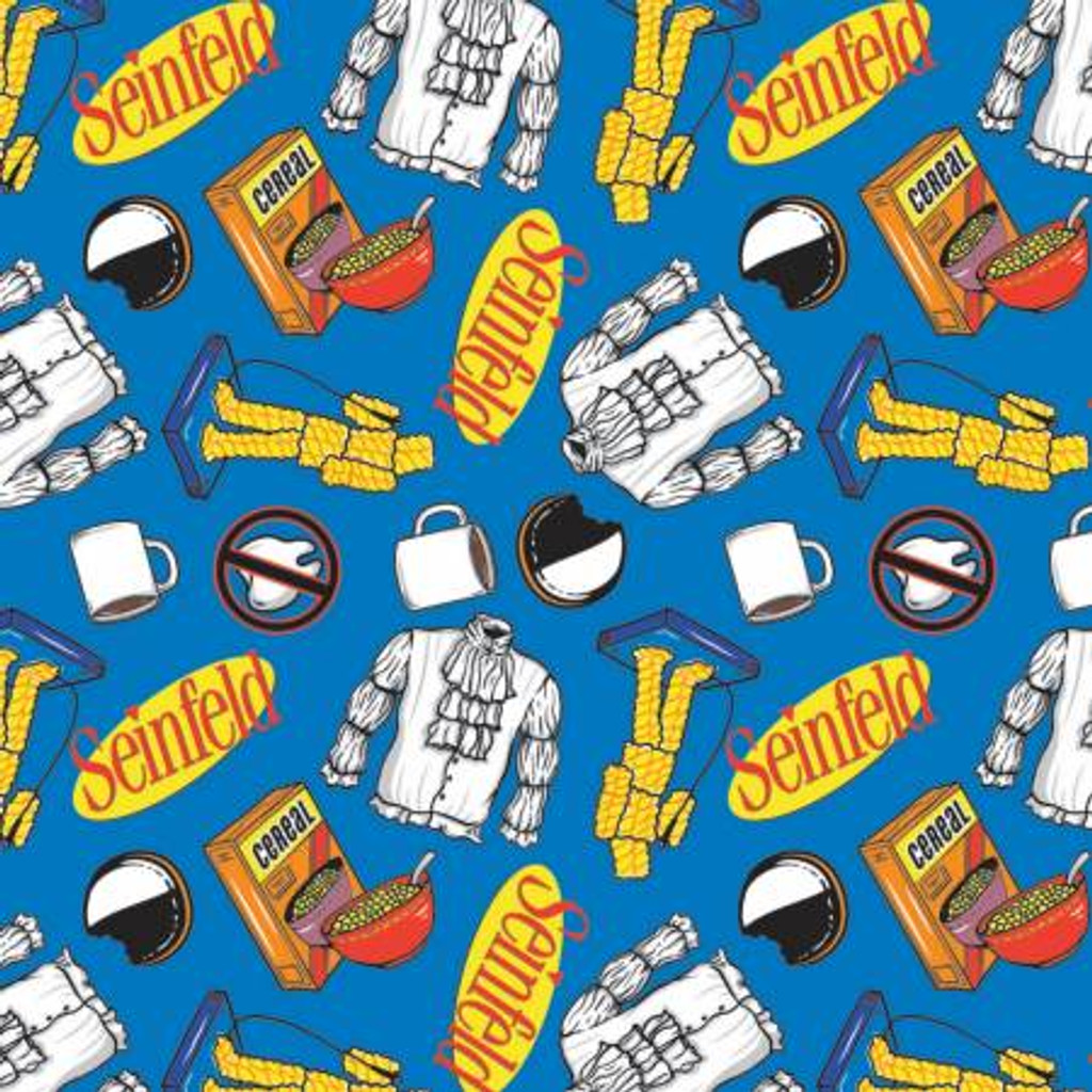 Blue Seinfeld Jerry Icons - Camelot Cotton - 1/2 yard (23880106-2)
