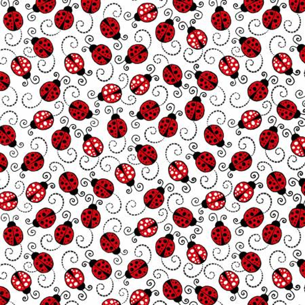 White Happy Ladybugs - Timeless Treasures Cotton - 1/2 yard (C7744-WHITE)
