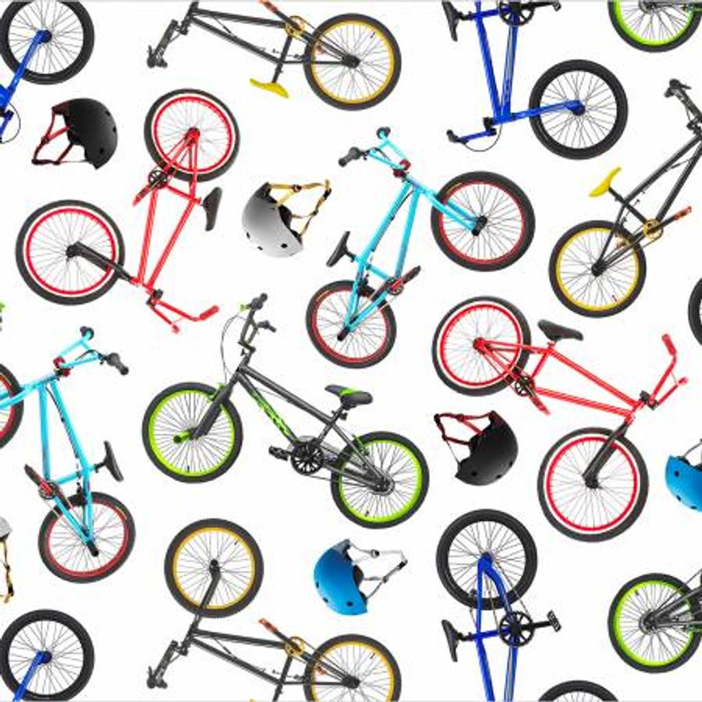 White Bicycles - In Motion - Elizabeth's Studio Cotton - 1/2 yard (459 white)