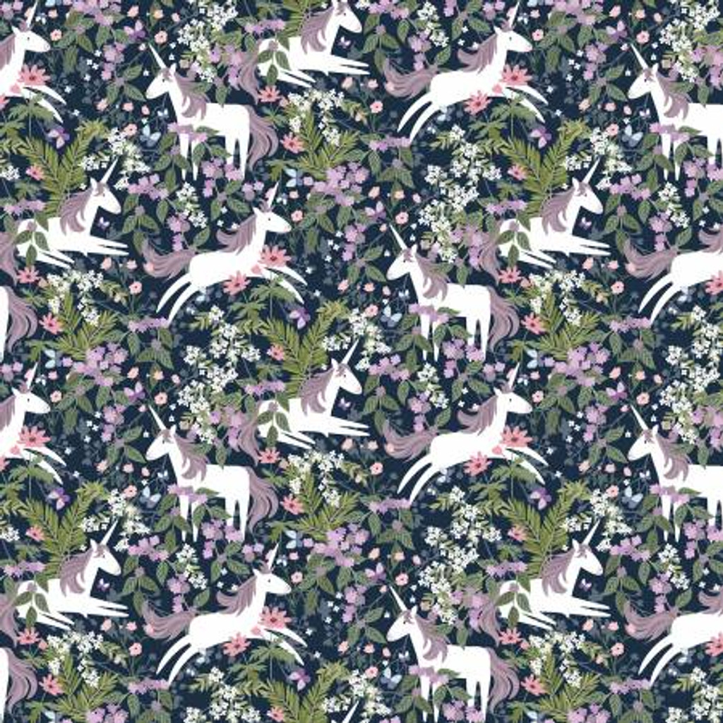 Navy Unicorns In Magical Forest - Timeless Treasures Minky - 1/2 yard (PD8868-NAVY)