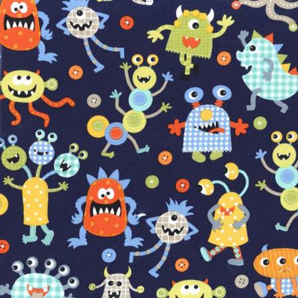 Monster Mash on Navy - Michael Miller Cotton