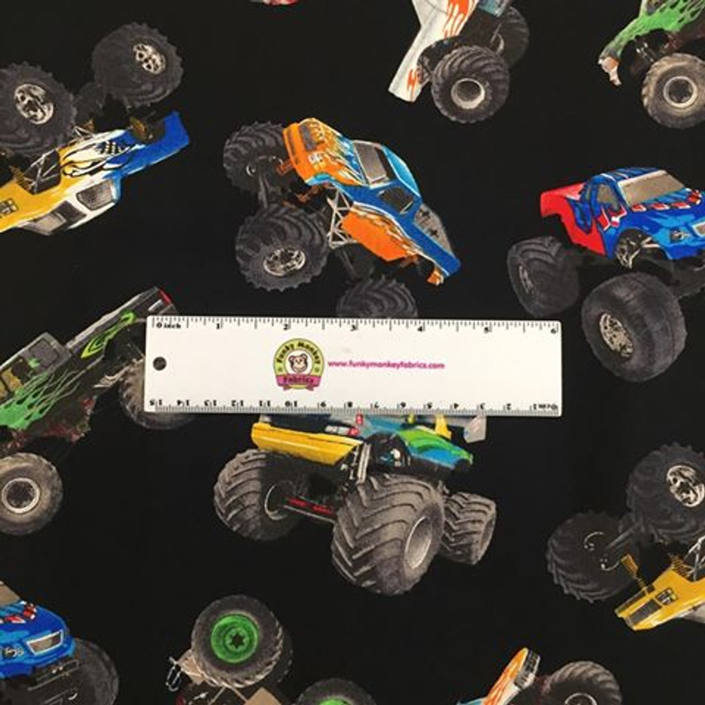 Monster Trucks on Black - In Motion - Elizabeth's Studio Cotton