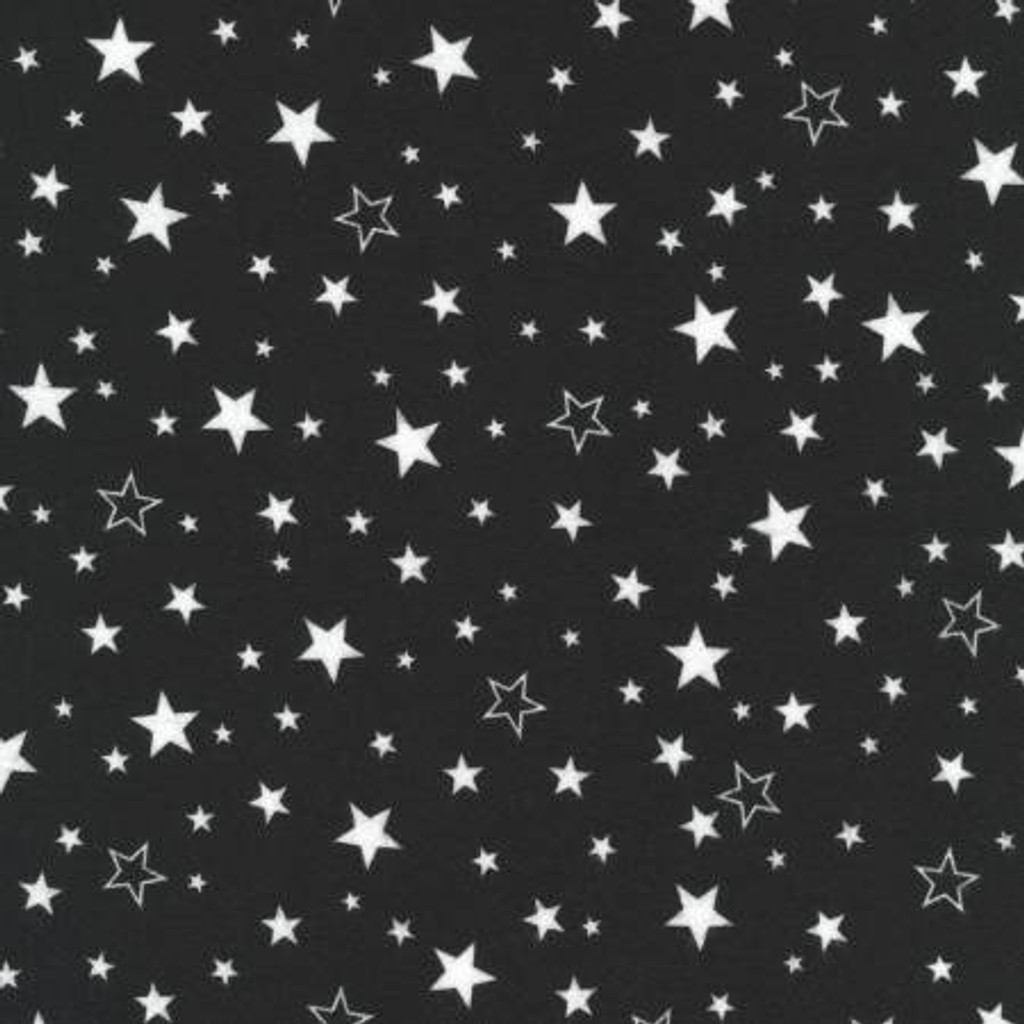 White Stars on Black - Robert Kaufman Flannel - 1/2 yard