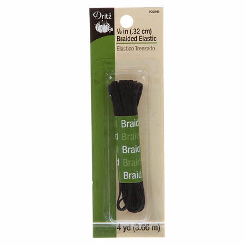 """Black 1/8"""" Braided Elastic - 4 yd pack"""