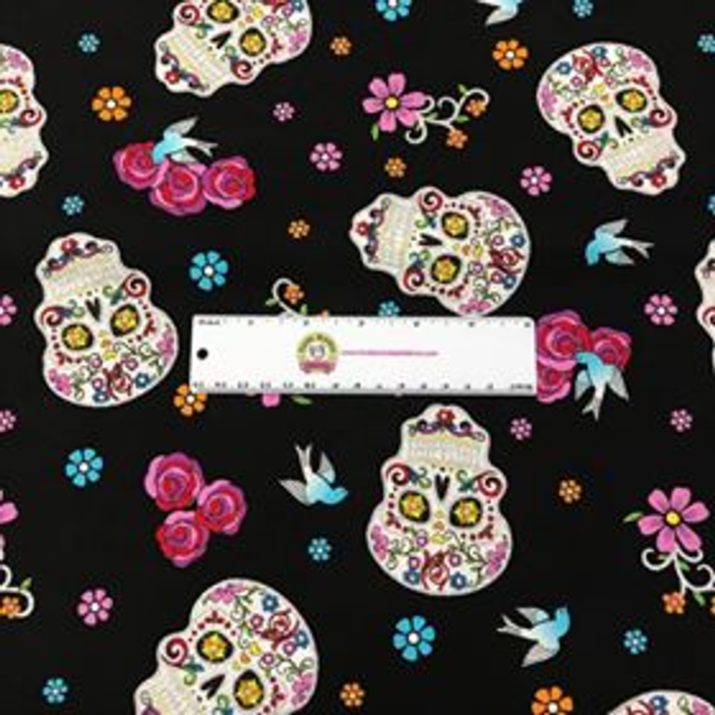 Black Day of the Dead with Glitter - Folkloric Skulls - David Textiles Cotton