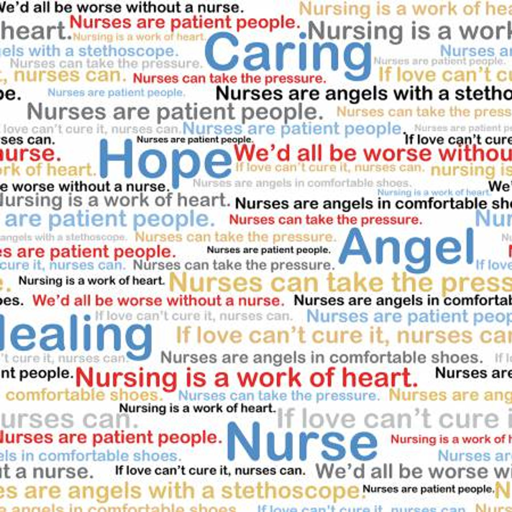 Multi Nursing Medical Words on White - Windham Fabrics Cotton - 1/2 yard