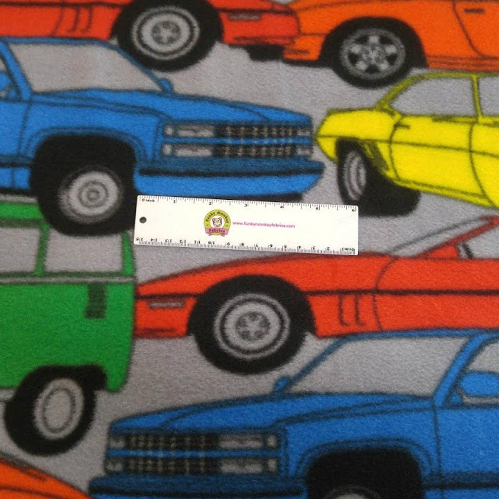 Multi Transportation Way Cars Anti-Pill Fleece - 1/2 yard