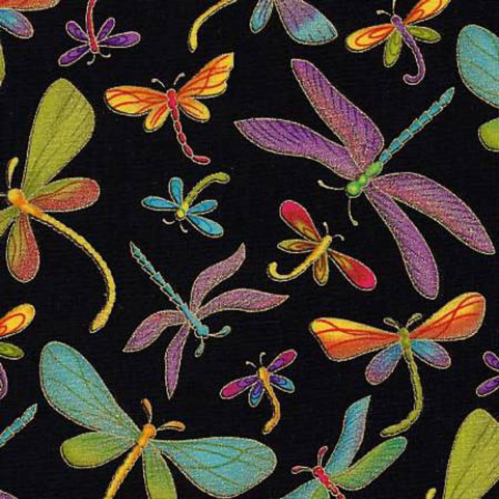 Metallic Dragonfly on Black - Timeless Treasures Cotton (M1-BLK)
