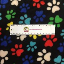Multi Paw Prints on Black - Baum Fleece - 1/2 yard