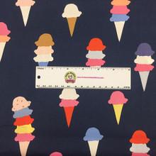 Navy I Scream District - Art Gallery Cotton