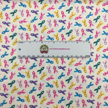 White/Multi Cancer Awareness Ribbons - Elizabeth's Studio Cotton