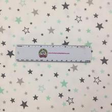 Mint & Grey Stars on White - Robert Kaufman Flannel - 1/2 yard