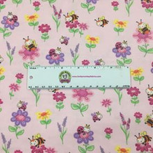 Pink Bugs & Flowers - AE Nathan Flannel  (0796AE-22)