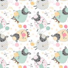 White Knitting Sheep - AE Nathan Flannel (13677AE-WHT)