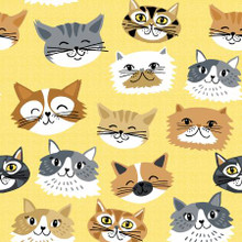 Cat Faces on Yellow - AE Nathan Flannel  (0982AE-44)