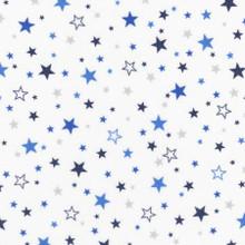 Royal Stars on White - Robert Kaufman Flannel - 1/2 yard ( SRKF1559311)