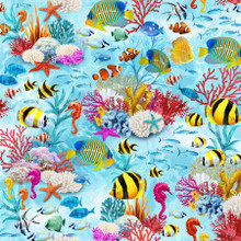 Multi Tropical Fish Light Blue - Timeless Treasures Cotton - 1/2 yard (7960 multi)
