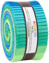 Jelly Roll 2-2-1/2in Strips Kona Cotton Mermaid Shores Palette, 40pcs/bundle- Robert Kaufman Cotton