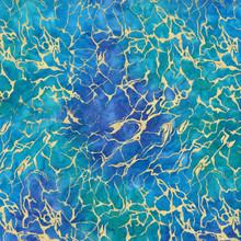 Turquoise Sea Water Batik w/Metallic - Michael Miller Cotton - 1/2 yard