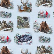 Multi Animals in the Snow - Elizabeth's Studio Cotton - 1/2 yard (9613E-SNOW)