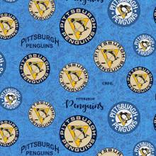 NHL-Pittsburgh Penguins throwback logo Cotton - Sykel Enterprises - 1/2 yard