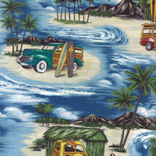 Blue Surf Hut Woodies - Hoffman Fabrics - 1/2 yard