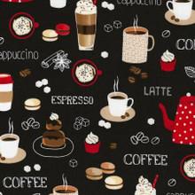 Black Coffee/Cappuccino/Latte - Timeless Treasures Cotton - 1/2 yard ( C6619-BLK)