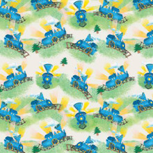 Little Engine That Could Stripes on Blue - Riley Blake Cotton - 1/2 yard (C9992R-CREAM)