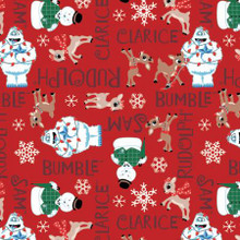 Red Rudolph Character Names - Camelot Flannel - 1/2 yard (62010206B-4)